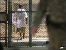 A prisoner at Guantanamo Bay (file image)