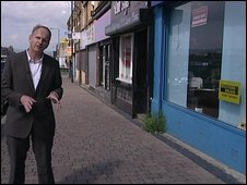 Andrew Bomford outside the money exchange business in Bradford  at the centre of the case