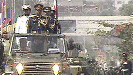 Military vehicles parading in Colombo