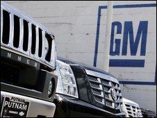 A Hummer and a Cadillac at a General Motors dealership in Burlingame, California
