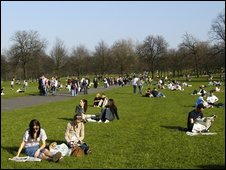 People relaxing in Greenwich park