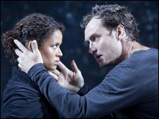 Jude Law and Gugu Mbatha-Raw in Hamlet