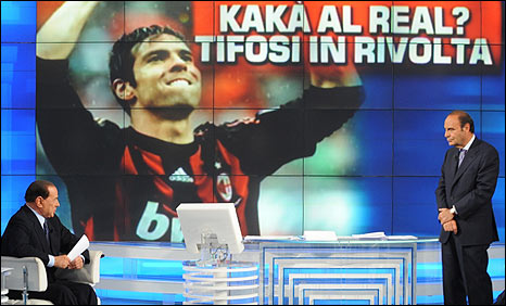 Silvio Berlusconi (left) is asked on Italian TV whether Kaka is to join Real Madrid