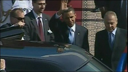 President Obama arrives in Cairo