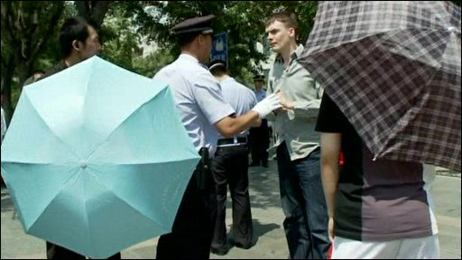 James Reynolds with the Chinese police