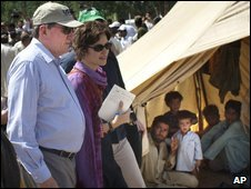 Richard Holbrooke visiting a camp for displaced people