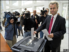 Geert Wilders votes (4 June 2009)