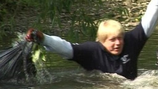 Boris Johnson falls in river