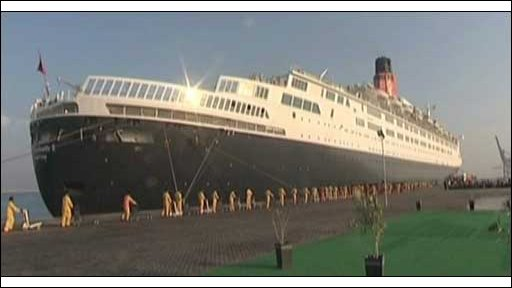 QE2 liner alongside in Dubai