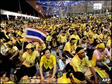 PAD supporters at Bangkok's international airport - 25/11/2008