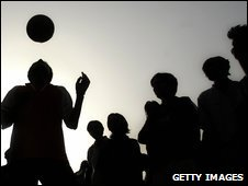 Street footballers in New Delhi