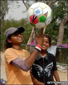 Girls with football in New Delhi