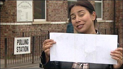Reporter holds ballot paper