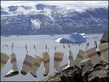 Inuit boots hanging on a line, Uummannaq, Greenland