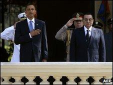 President Barack Obama and President Hosni Mubarak