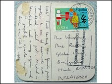 Stamped beer mat used as a postcard