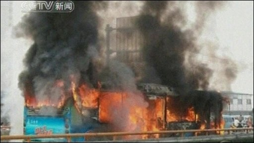 Bus on fire in China