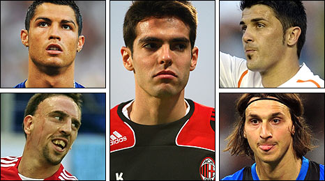 Clockwise from top left: Cristiano Ronaldo, Kaka, David Villa, Zlatan Ibrahimovic, Franck Ribery