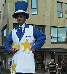 Stilt walker campaigning in Nuremberg