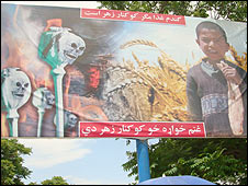 Poster encouraging Afghans to grow wheat rather than opium