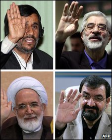 Ahmadinejad (top l), Mousavi (top r), Karroubi (bottom l) and Rezai (bottom r)