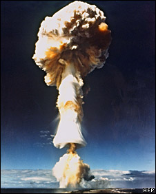 File photo of nuclear test in Mururoa, French Polynesia, 1970