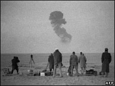 File photo from the 1960s of nuclear testing at Reggane in the Algerian Sahara