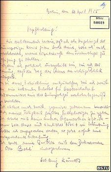 The letter in which Karl-Heinz Kurras allegedly agreed to work for the Stasi (Bundesbeauftragte f�r die Unterlagen des Staatssicherheitsdienstes der ehemaligen DDR (BStU))