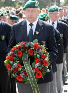 A Dutch Commando group presents a wreath on Pegasus Bridge