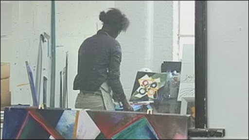 Nathlyn Baptiste in her studio