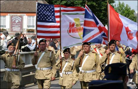 Troops parade across Pegasus Bridge