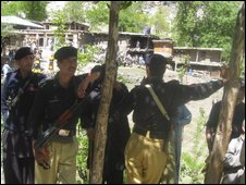 Security forces in Kalash valley