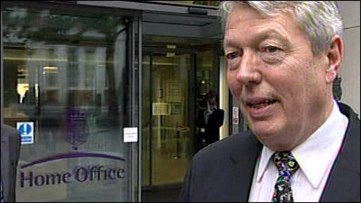 Alan Johnson outside the Home Office