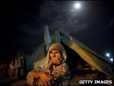 Woman in a camp for internally-displaced people, Pakistan