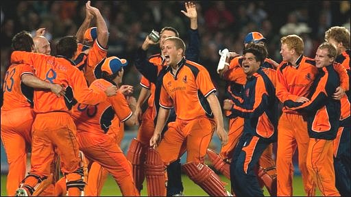 Netherlands celebrate their last ball victory