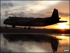 A French Navy Atlantis airplane lands June 05, 2009 at the airbase in Natal, northern Brazil