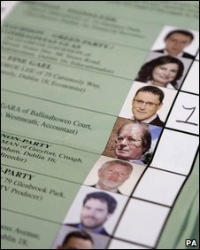 Ballot with first preference vote for George Lee of Fine Gael