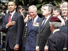 US President Barack Obama, Prince Charles, PM Gordon Brown and Canadian PM Stephen Harper at the 65th Anniversary of the D-day landings in Normandy