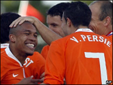 The Dutch celebrate Nigel de Jong's goal