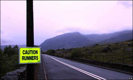 A sign on the A5 in the Ogwen Valley