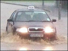 Flooding in Pontypridd on Saturday evening