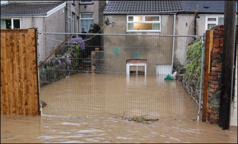 Flooding in Senghenydd near Caerphilly Photo: Luke Sutton