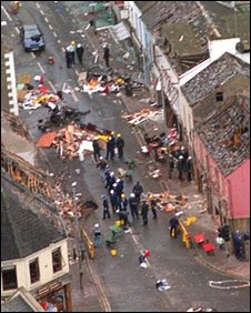 Aftermath of Omagh bomb aerial photo supplied by MoD