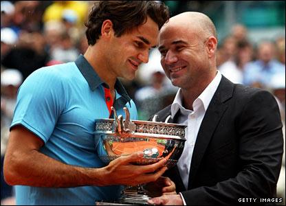 Roger Federer and Andre Agassi
