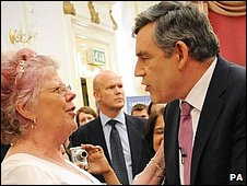 Gordon Brown greeting Labour supporters in London
