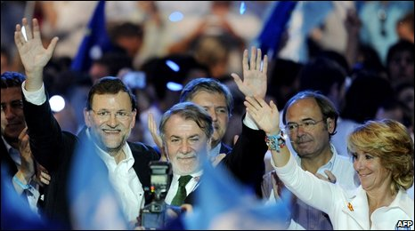 Spanish opposition Popular Party leaders celebrate victory
