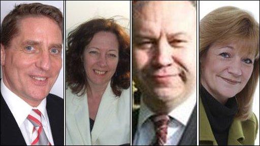 Wales' newly-elected MEPs (L-R) John Bufton (UKIP), Jill Evans (Plaid Cymru), Derek Vaughan (Labour), Kay Swinburne (Conservative)