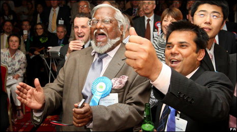Conservative candidates greet the result in Southampton
