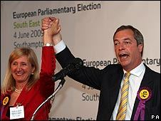 UKIP's Marta Andreasen and Nigel Farage celebrate