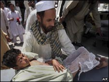 A victim of Friday's attack on a mosque in Upper Dir